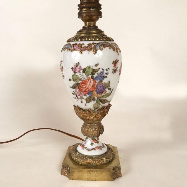 Petit Pied De Lampe Porcelaine Et Bronze Le Chat Rouge