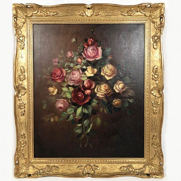 bouquet-roses-huile-sur-toile