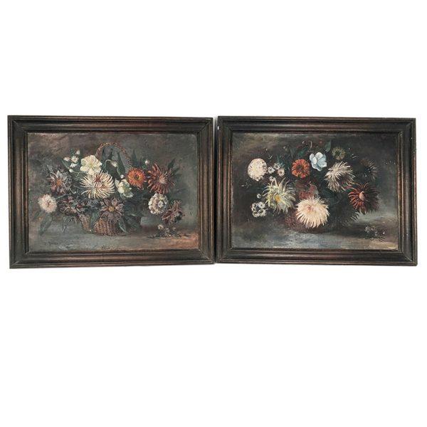 paire-huiles-toile-bouquets-fleurs